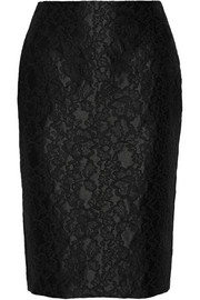 Adam Lippes Lace-appliquéd satin pencil skirt