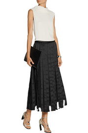 Adam Lippes Satin and Chantilly lace midi skirt