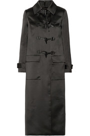 Adam Lippes Leather-trimmed duchesse-satin duffle coat