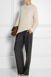 Adam Lippes Plaid wool and cashmere-blend wide-leg pants