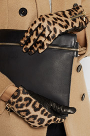 Diane von Furstenberg Leather and leopard-print calf hair gloves