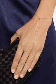 Halleh 18-karat gold diamond finger bracelet