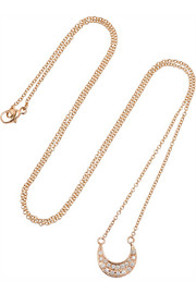 Halleh Mini Moon 18-karat rose gold diamond necklace