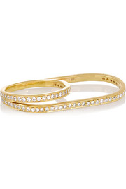 Halleh 18-karat gold diamond two-finger ring