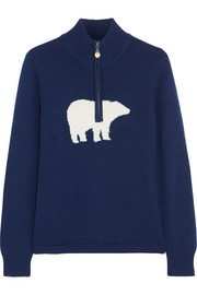 Polar bear-intarsia merino wool sweater