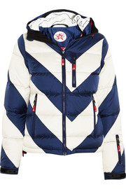 Super Day striped quilted shell down jacket