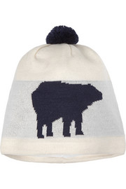 Perfect Moment Polar bear-intarsia merino wool-blend beanie