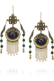 Etro Gold-plated, sodalite and tiger's eye earrings
