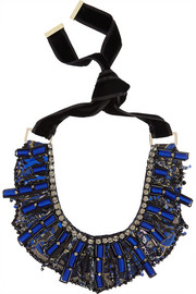 Etro Embroidered silk and crystal necklace