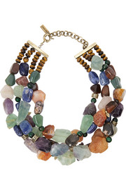 Etro Tiger's eye, sodalite and amethyst necklace