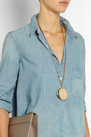 Lulu Frost Written in Stone gold-plated crystal locket necklace