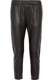 Theory Korene cropped leather slim-leg pants