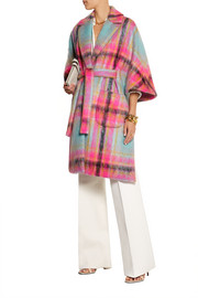 DELPOZO Checked mohair-blend cape