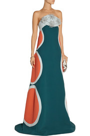 DELPOZO Embellished cady gown