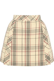 DELPOZO Checked wool-blend crepe mini skirt