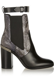 Python-trimmed leather Chelsea boots