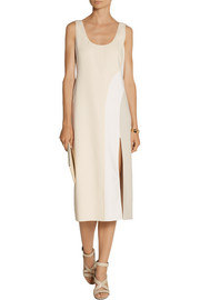 Marc Jacobs Color-block stretch wool-blend midi dress