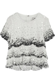 Marc Jacobs Dégradé paillette-embellished silk-organza top