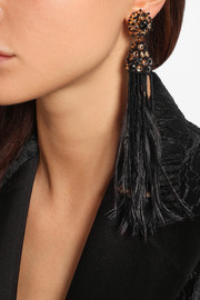 Oscar de la Renta Gold-plated, crystal, bead and feather clip earrings