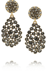 Oscar de la Renta Gold-plated crystal earrings