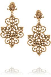 Oscar de la Renta Gold-plated clip earrings