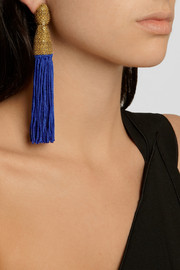 Oscar de la Renta Gold-plated tassel clip earrings