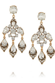 Oscar de la Renta Gold-plated Swarovski crystal clip earrings