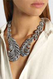 Oscar de la Renta Silver-tone crystal feather necklace
