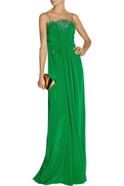 Thakoon Lace-trimmed silk crepe de chine gown