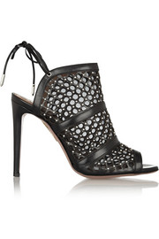 Aquazzura Blondie laser-cut leather and mesh mules
