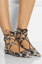 Aquazzura Belgravia elaphe point-toe flats