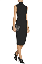 Victoria Beckham Silk and wool-blend turtlneck dress