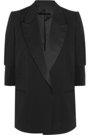 Satin-trimmed wool-twill blazer