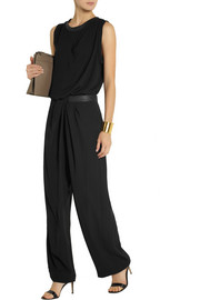 Dion Lee Leather-trimmed crepe wide-leg pants