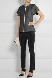 Dion Lee PVC-trimmed linen-blend tweed top