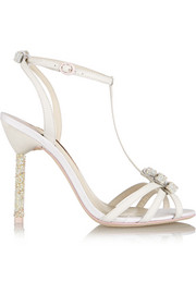 Sophia Webster Fleur embellished leather and glitter-finished twill sandals