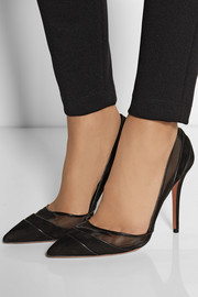 Aquazzura + Olivia Palermo paneled mesh and suede pumps