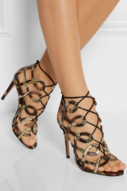 Aquazzura + Olivia Palermo cutout elaphe sandals