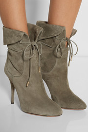 Aquazzura + Olivia Palermo suede ankle boots
