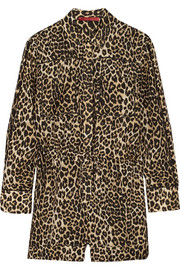 Tamara Mellon Cutout leopard-print cotton and silk-blend playsuit