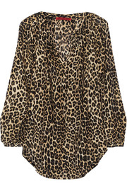 Tamara Mellon Leopard-print cotton and silk-blend blouse