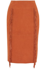 Tamara Mellon Fringed suede pencil skirt