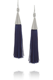 Rhodium-plated and silk tassel cone earrings