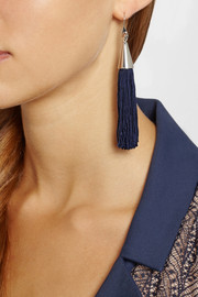 Eddie Borgo Rhodium-plated and silk tassel cone earrings
