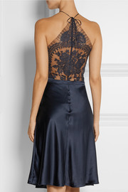 Pizzo lace-paneled silk-blend satin nightdress