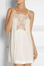 Pizzo lace-paneled stretch-jersey chemise
