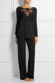 La Perla Freesia lace-paneled stretch-jersey pajama set