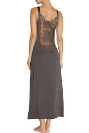 La Perla Pizzo lace-paneled stretch modal-blend nightdress