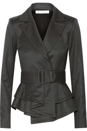 Oscar de la Renta Ruffled-hem wool-blend jacket