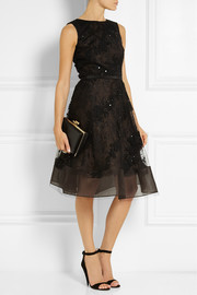 Oscar de la Renta Embellished lace-appliquéd tulle dress